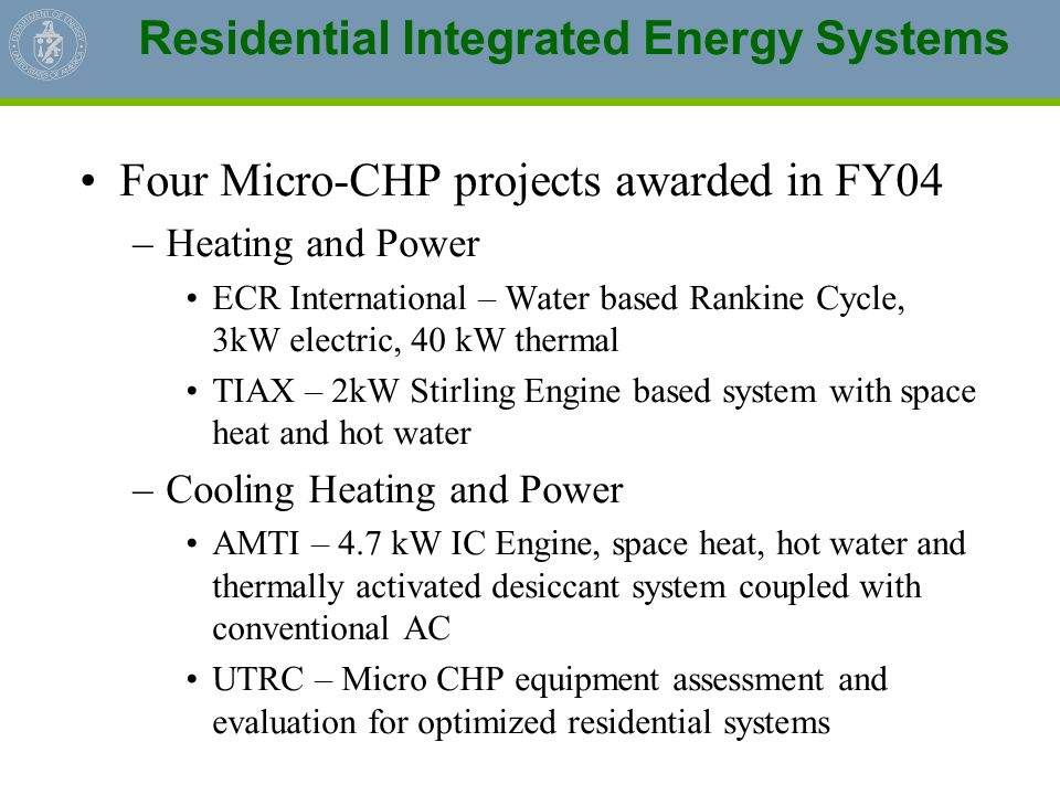 Residential Integrated Energy Systems