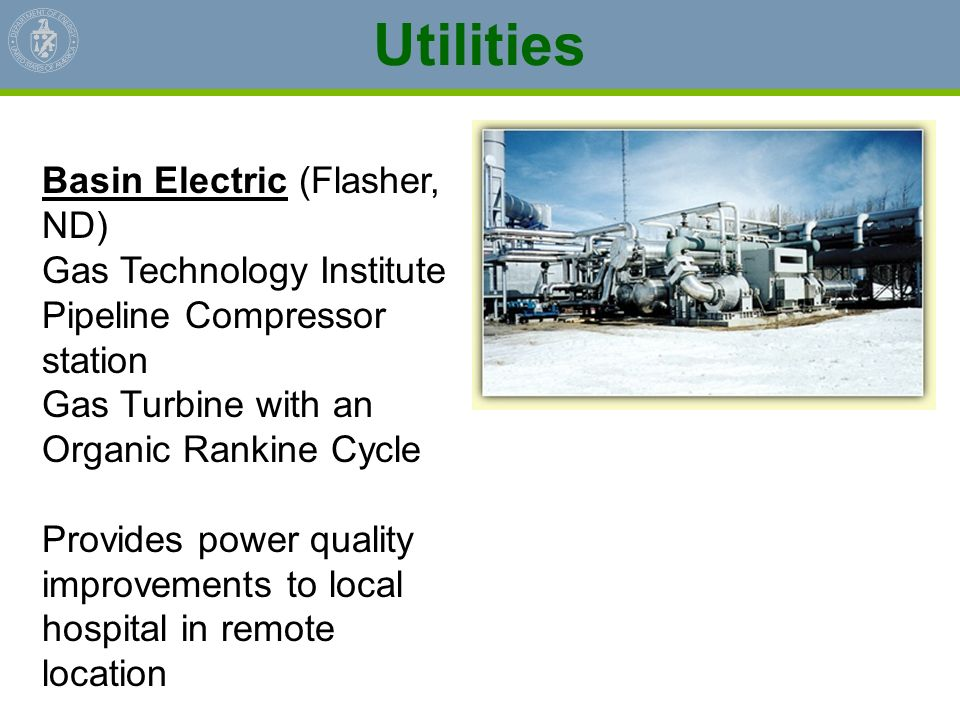 Utilities Basin Electric (Flasher, ND) Gas Technology Institute
