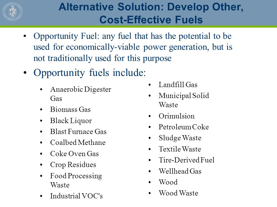 Alternative Solution: Develop Other, Cost-Effective Fuels