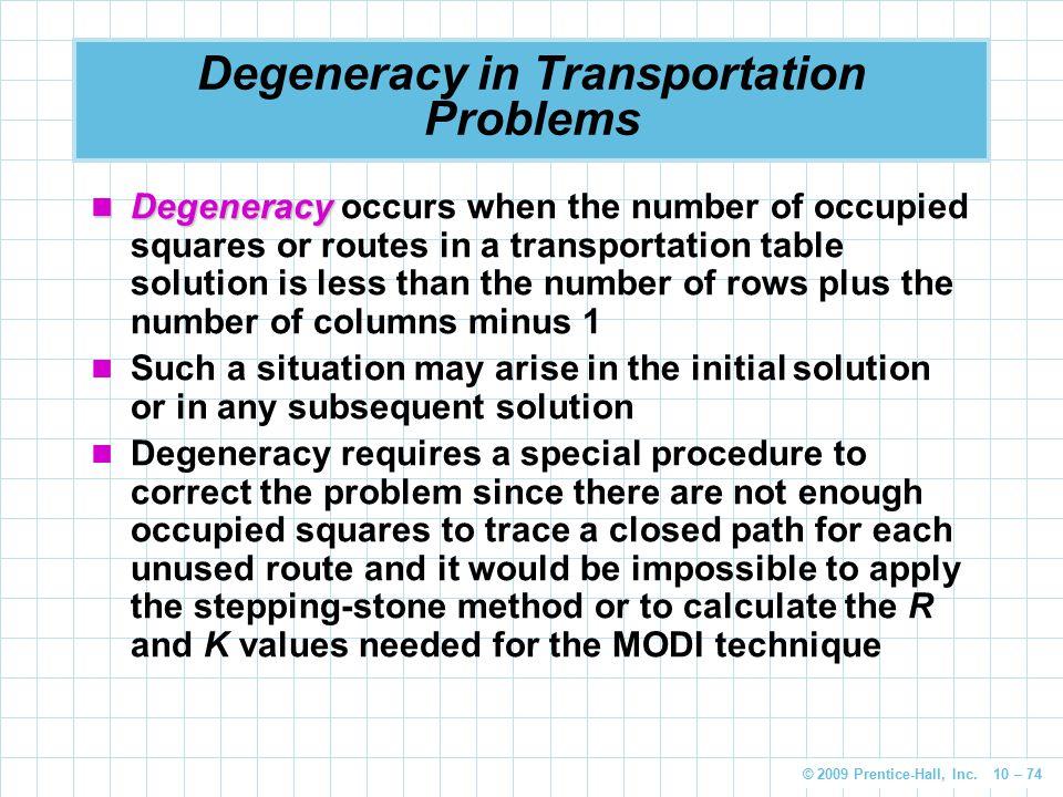 Degeneracy In Transportation Problem