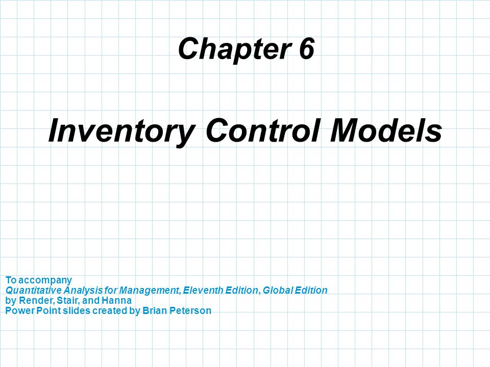 Inventory Control Models - ppt download