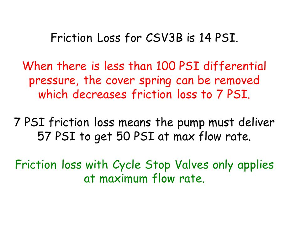 Friction Loss for CSV3B is 14 PSI