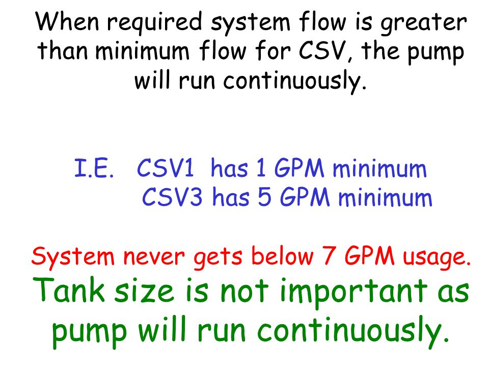 When required system flow is greater than minimum flow for CSV, the pump will run continuously.
