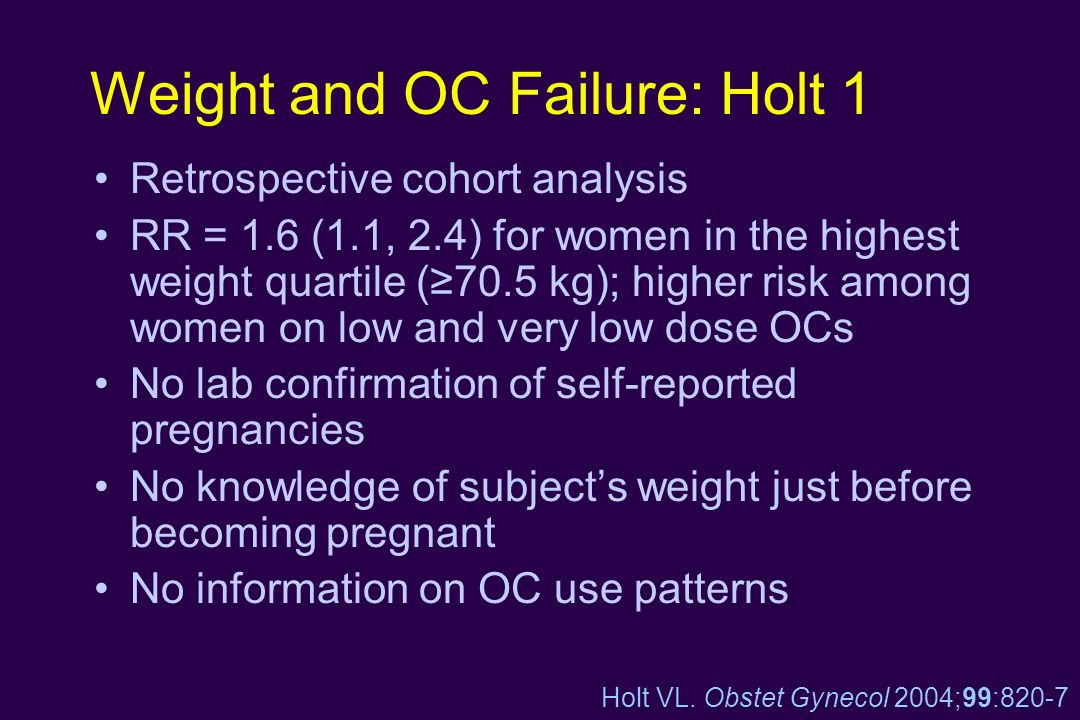 Weight and OC Failure: Holt 1