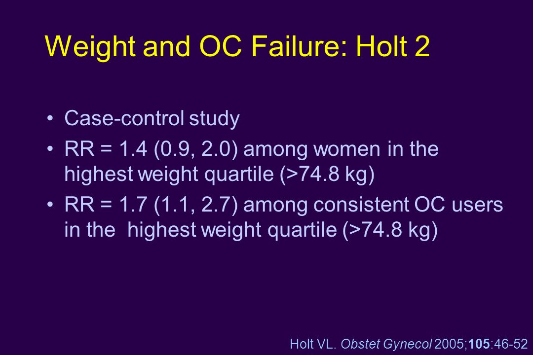 Weight and OC Failure: Holt 2