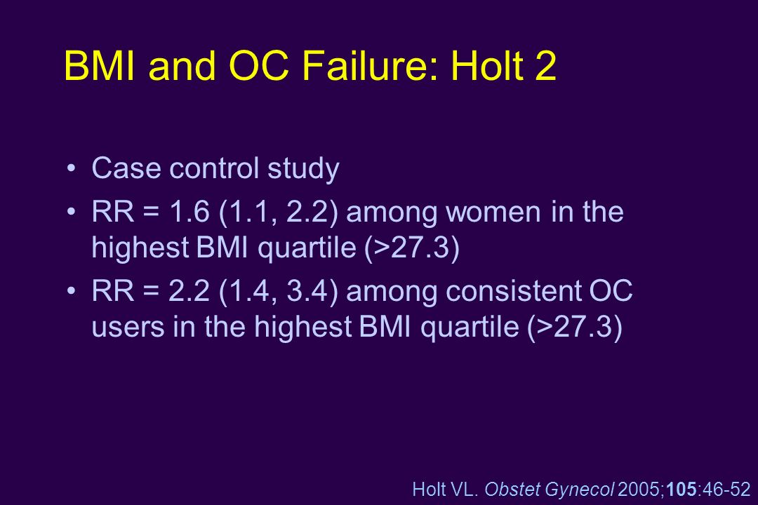 BMI and OC Failure: Holt 2