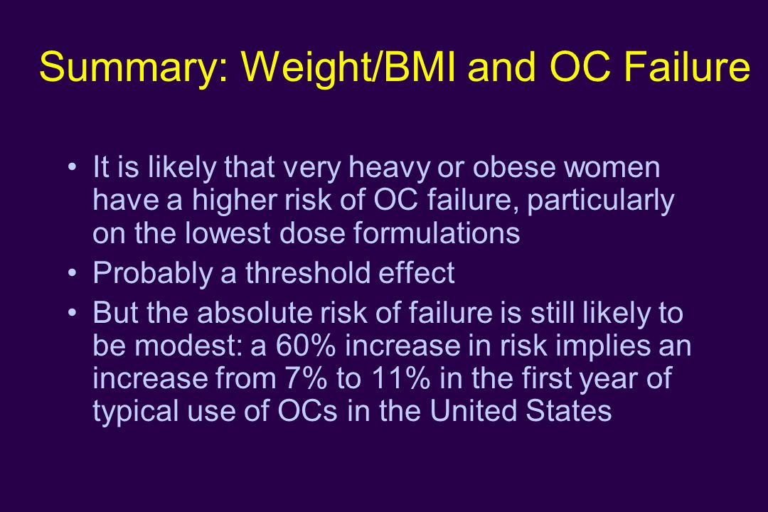 Summary: Weight/BMI and OC Failure