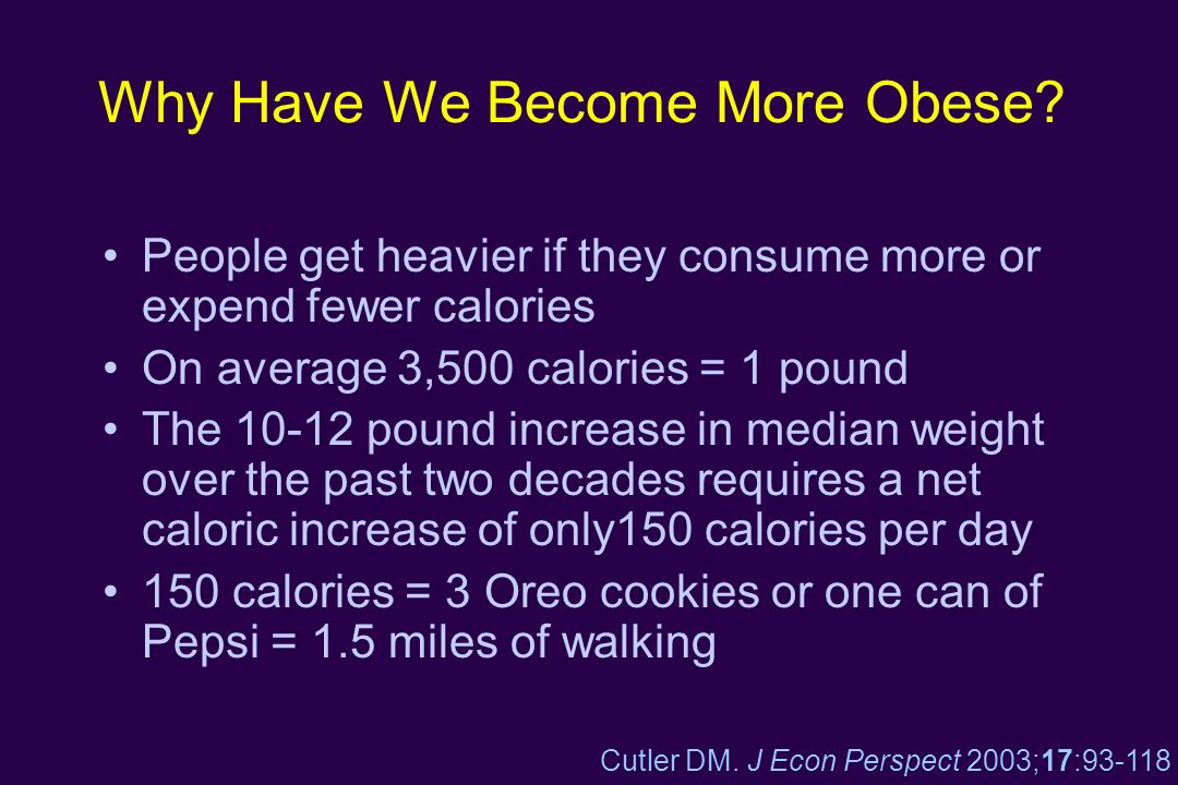 Why Have We Become More Obese