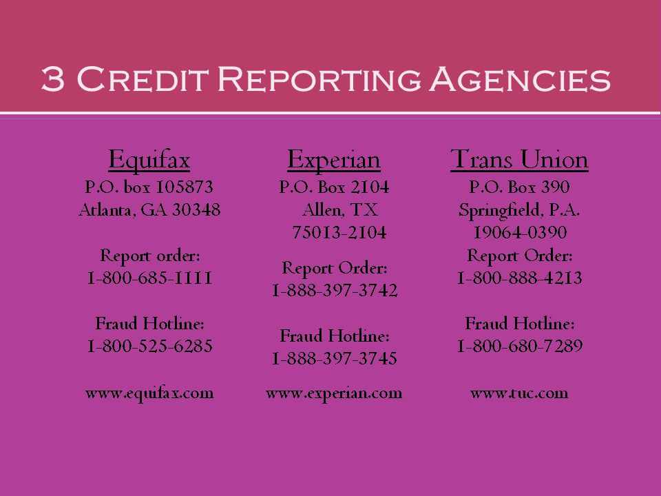 3 Credit Reporting Agencies >> Preparing For Consumer Choices Ppt Video Online Download