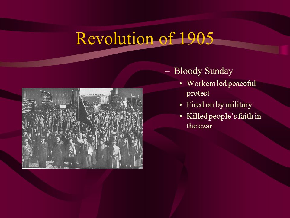 Revolution of 1905 Bloody Sunday Workers led peaceful protest
