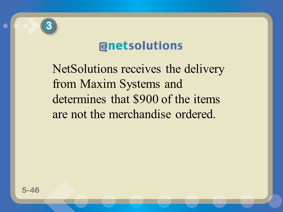 3 NetSolutions receives the delivery from Maxim Systems and determines that $900 of the items are not the merchandise ordered.