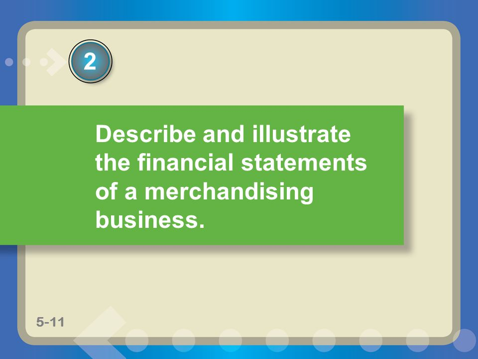 2 Describe and illustrate the financial statements of a merchandising business. 5-11