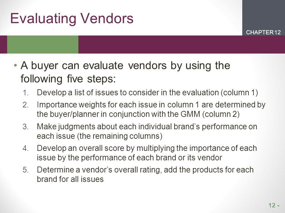 Evaluating Vendors CHAPTER 12. CHAPTER 1. CHAPTER 2. CHAPTER 1. A buyer can evaluate vendors by using the following five steps: