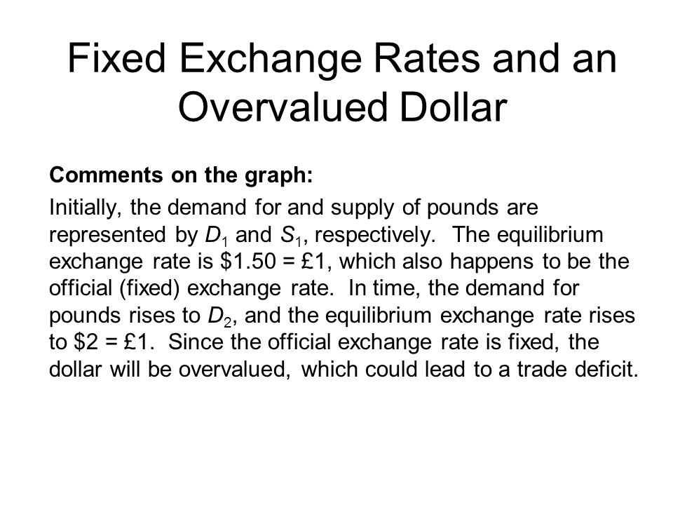 Fixed Exchange Rates and an Overvalued Dollar