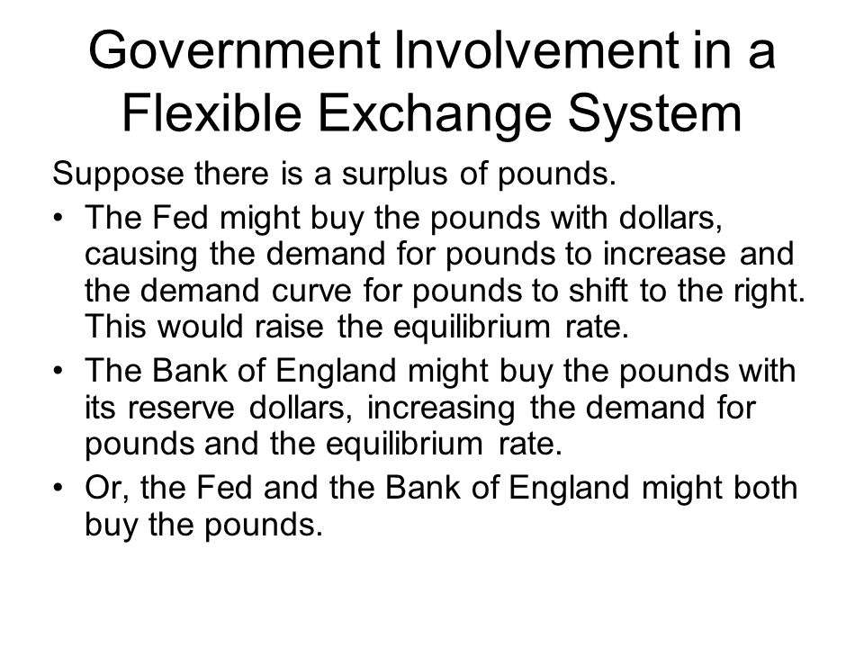 Government Involvement in a Flexible Exchange System