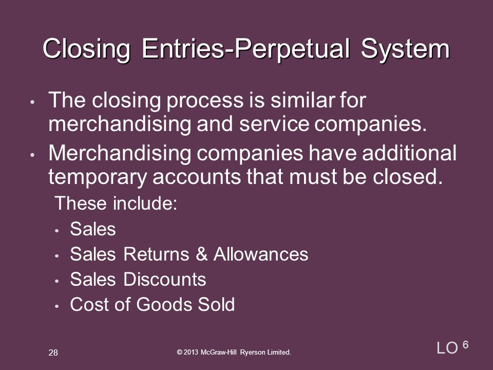 Closing Entries-Perpetual System
