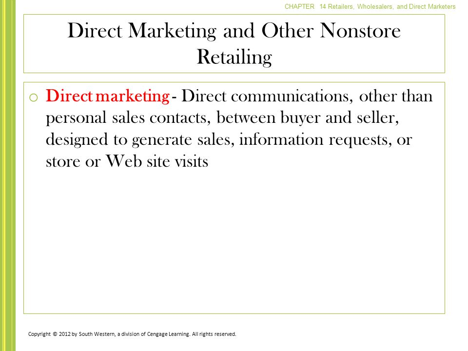 Direct Marketing and Other Nonstore Retailing