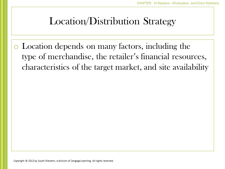 Location/Distribution Strategy