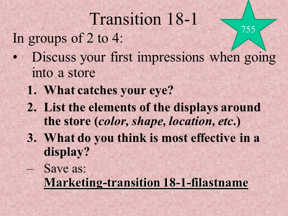 Transition 18-1 In groups of 2 to 4: