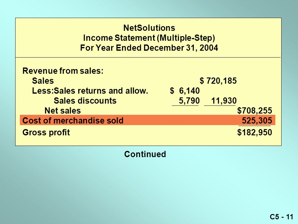 NetSolutions Income Statement (Multiple-Step) For Year Ended December 31, 2004