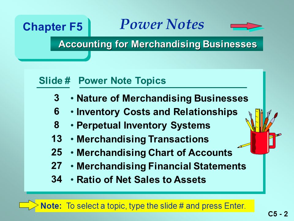 Power Notes Chapter F5 Accounting for Merchandising Businesses