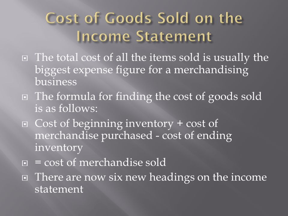 Cost of Goods Sold on the Income Statement