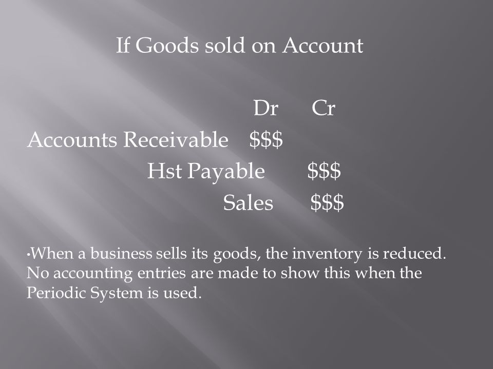 If Goods sold on Account