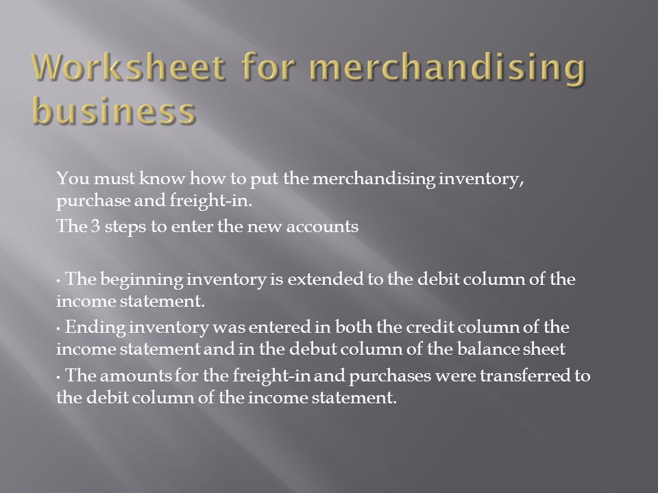 Worksheet for merchandising business