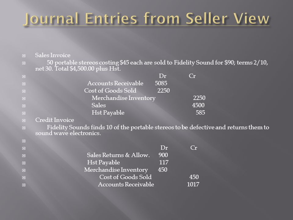 Journal Entries from Seller View
