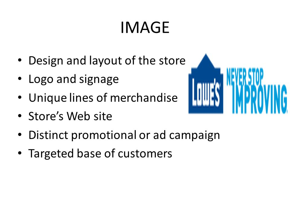 IMAGE Design and layout of the store Logo and signage