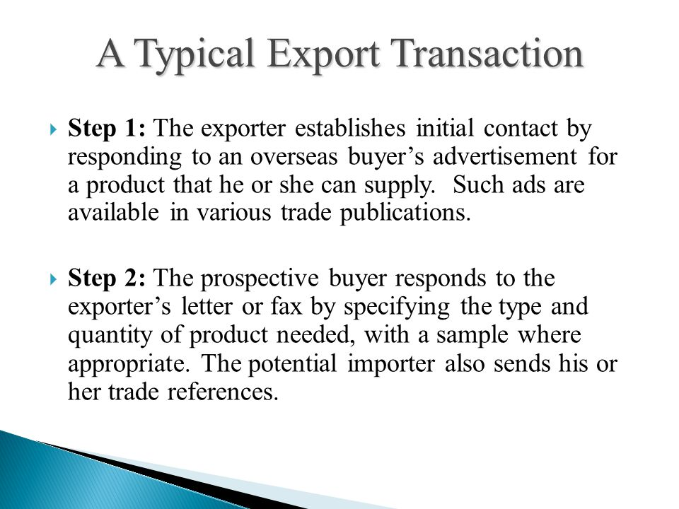 A Typical Export Transaction