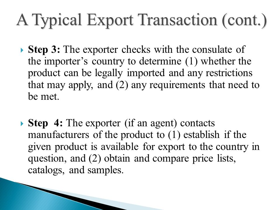A Typical Export Transaction (cont.)