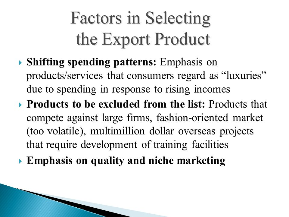 Factors in Selecting the Export Product