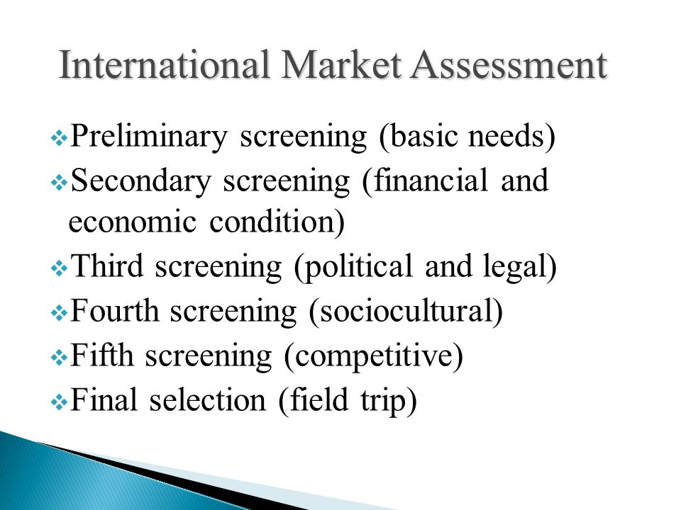 International Market Assessment