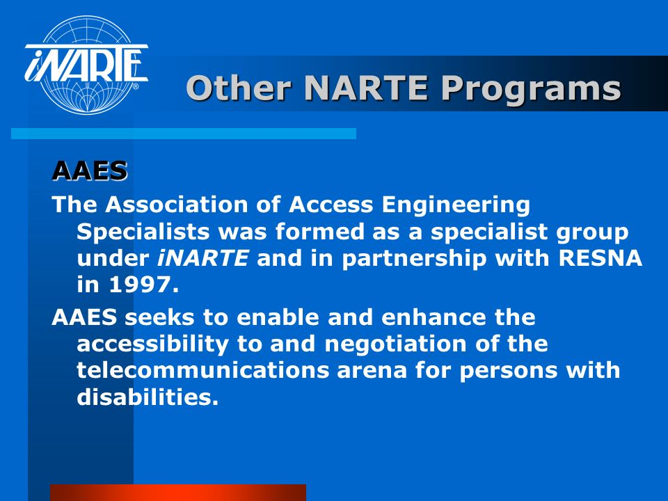 Other NARTE Programs AAES