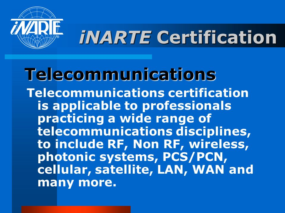 iNARTE Certification Telecommunications