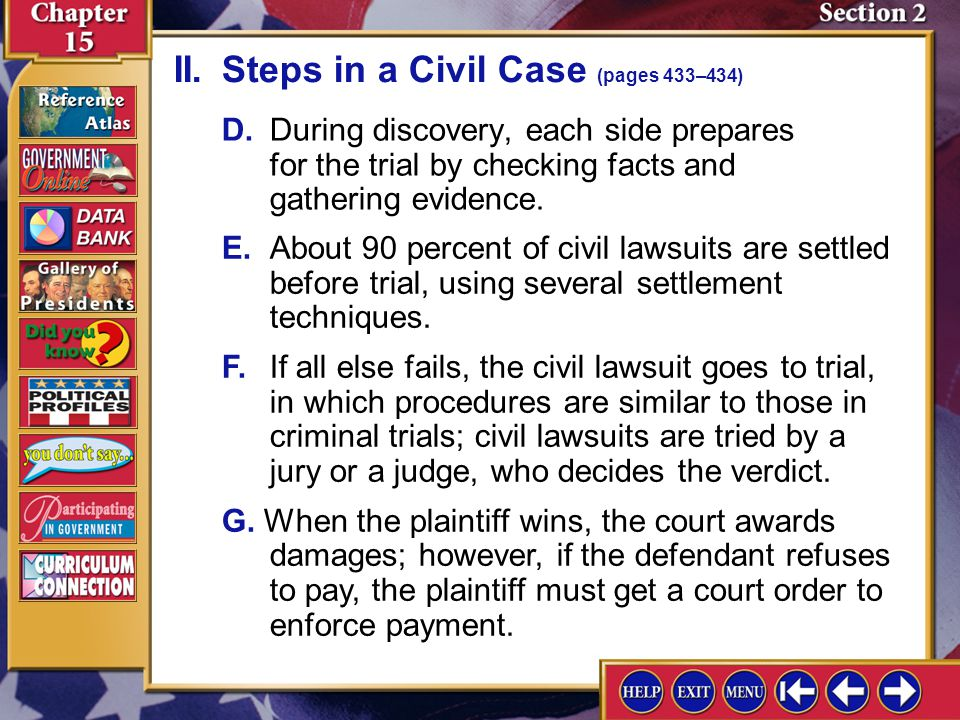 II. Steps in a Civil Case (pages 433–434)