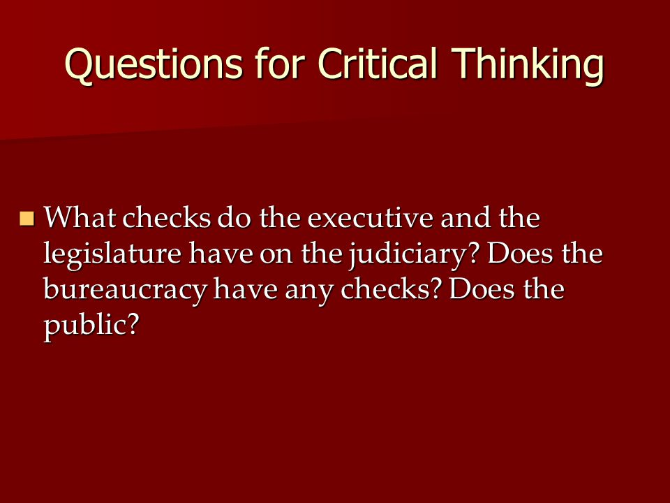 Questions for Critical Thinking