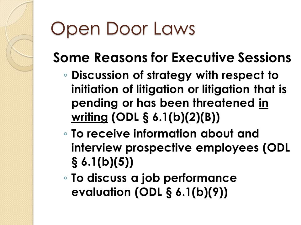 Open Door Laws Some Reasons for Executive Sessions