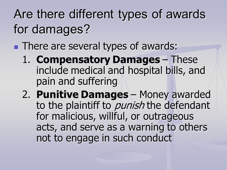 Are there different types of awards for damages