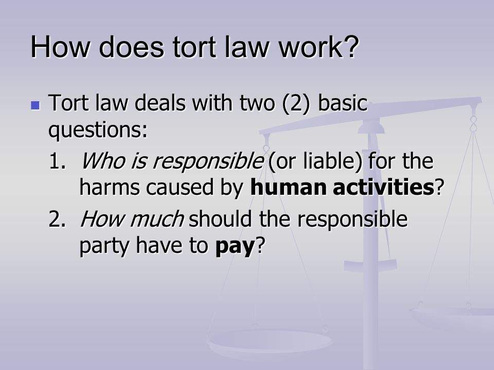 How does tort law work Tort law deals with two (2) basic questions: