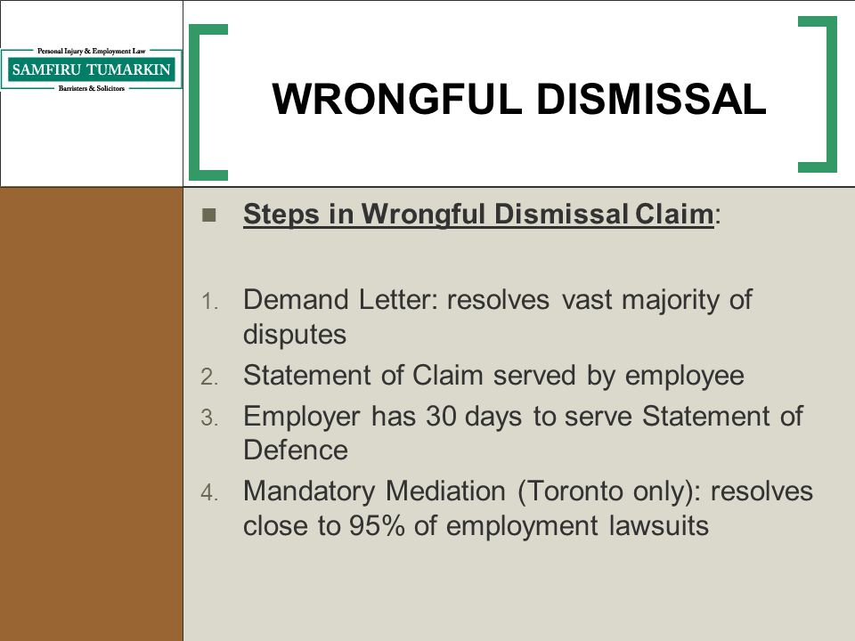 Employment law issues during the job search process ppt video 20 wrongful dismissal steps in wrongful dismissal claim spiritdancerdesigns Images
