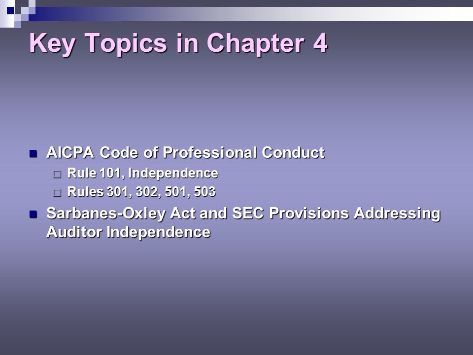 the aicpa code of professional conduct indicates that threats to independence accounting essay Comparisons are made among the aicpa code of professional conduct (the aicpa code), aicpa statements on standards for tax services (the standards), treasury circular 230, regulations governing practice before the internal revenue service (31 cfr part 10), and the internal revenue code (irc) and other treasury regulations in addition to.