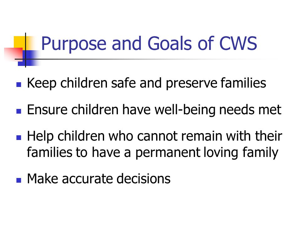 Purpose and Goals of CWS