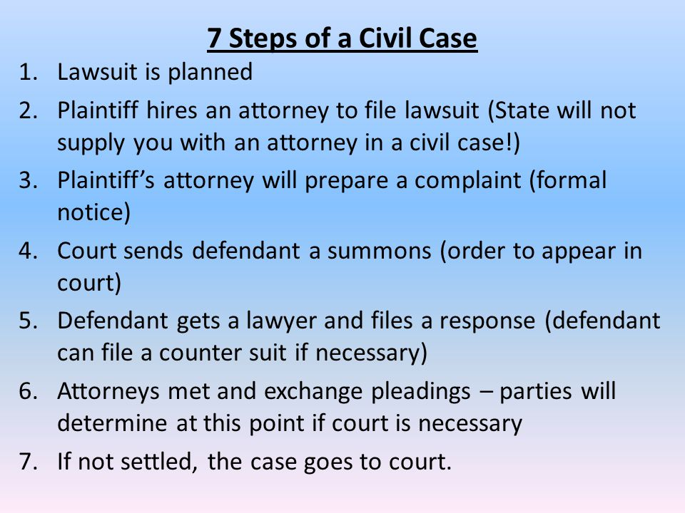 7 Steps of a Civil Case Lawsuit is planned