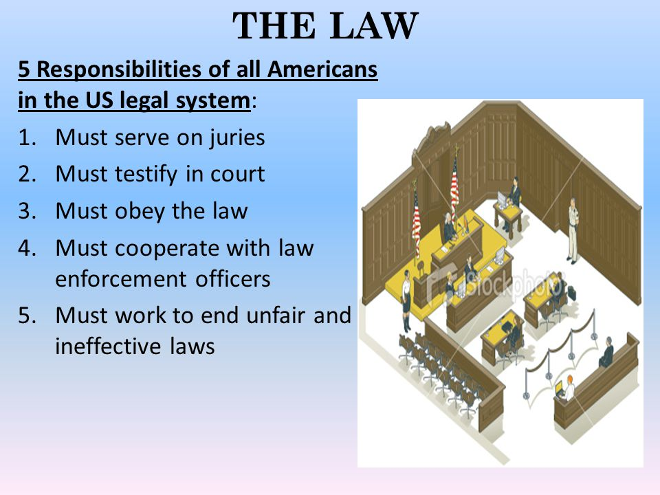 THE LAW 5 Responsibilities of all Americans in the US legal system: