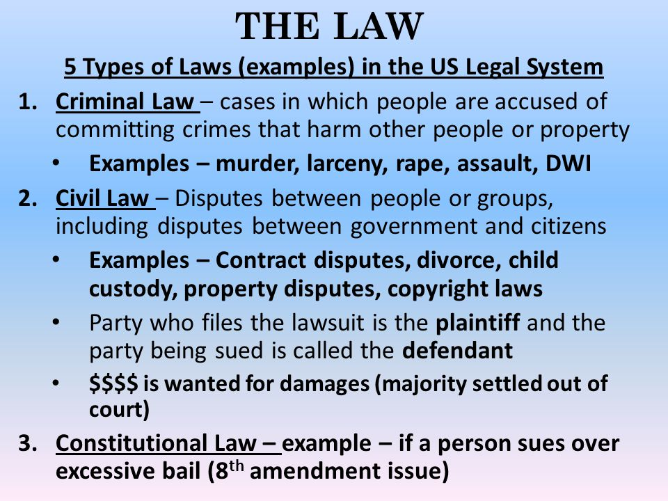 5 Types of Laws (examples) in the US Legal System