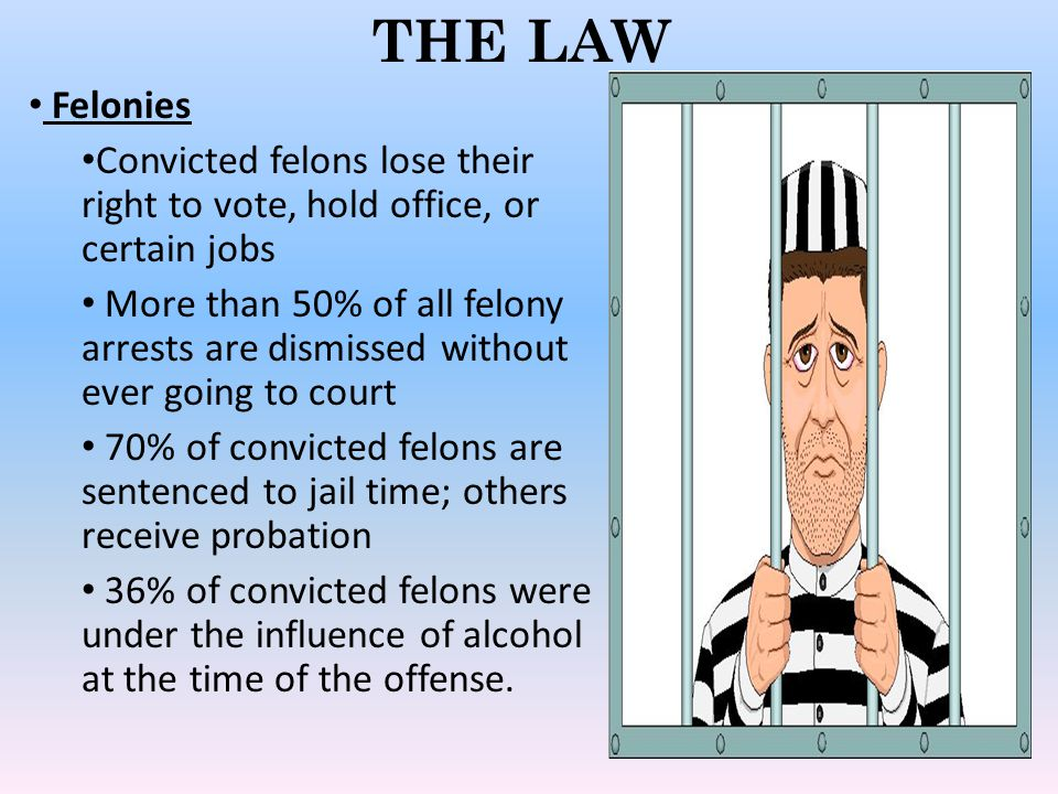 THE LAW Felonies. Convicted felons lose their right to vote, hold office, or certain jobs.