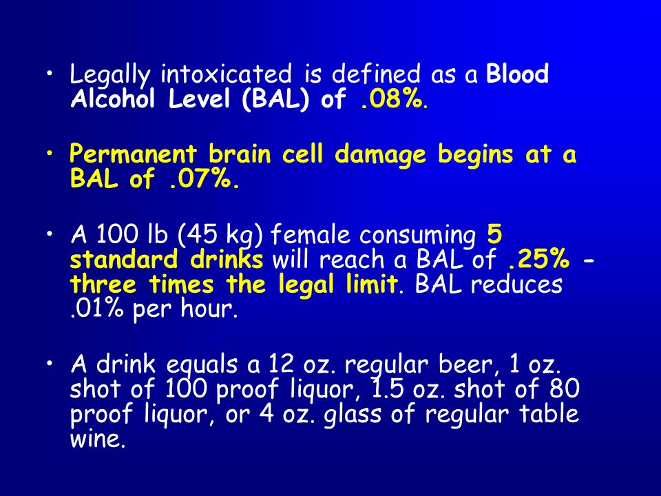 Legally intoxicated is defined as a Blood Alcohol Level (BAL) of .08%.