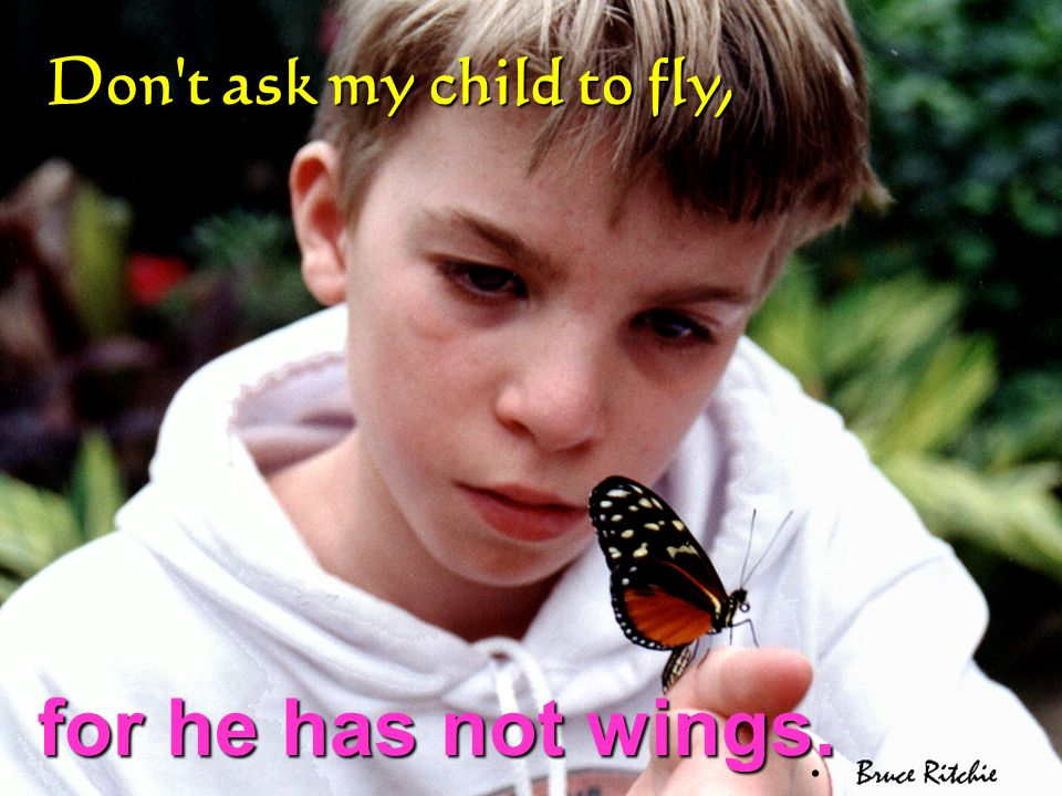 Don t ask my child to fly, for he has not wings. .